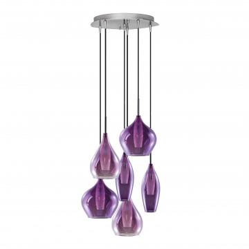Люстра-каскад Lightstar Pentola 803069, 6xG9x25W, хром, фиолетовый, металл, стекло