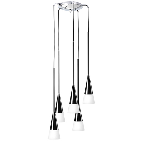 Люстра-каскад Lightstar Conicita 804257, 5xE14x40W, черный, металл, металл со стеклом