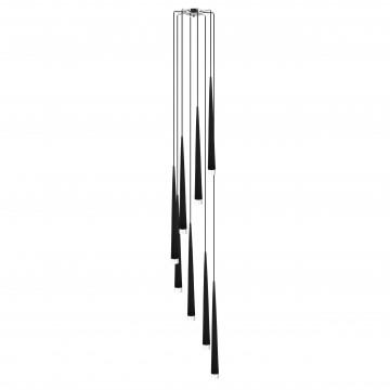 Люстра-каскад Lightstar Punto 807087, 8xG9x25W, хром, черный, металл