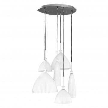 Люстра-каскад Lightstar Agola 810160, 6xE14x40W, хром, белый, металл, стекло