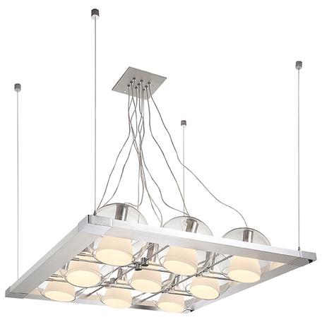 Подвесная люстра с регулировкой направления света Lightstar Palla 803191, 9xE14x40W, хром, белый, прозрачный, металл, стекло