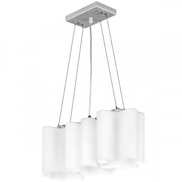 Подвесной светильник Lightstar Nubi 802130, 3xE27x40W, матовый хром, белый, металл, стекло