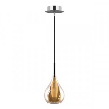 Подвесной светильник Lightstar Pentola 803033, 1xG9x25W, хром, янтарь, металл, стекло