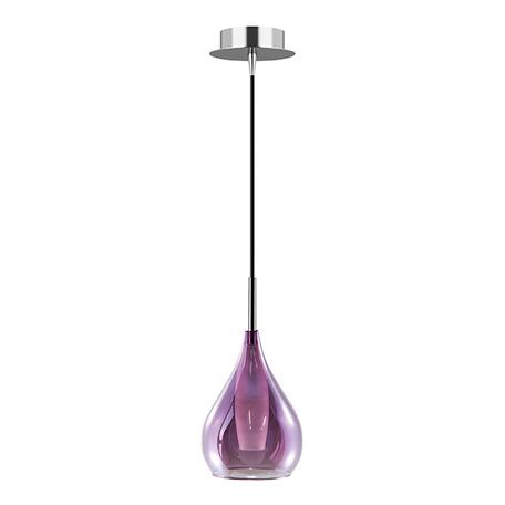 Подвесной светильник Lightstar Pentola 803039, 1xG9x25W, хром, фиолетовый, металл, стекло