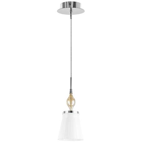 Подвесной светильник Lightstar Escica 806010, 1xE14x40W, коньячный, хром, белый, металл, стекло