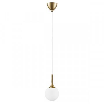 Подвесной светильник Lightstar Globo 813012, 1xE14x40W, матовое золото, белый, металл, стекло