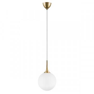 Подвесной светильник Lightstar Globo 813032, 1xE14x40W, матовое золото, белый, металл, стекло