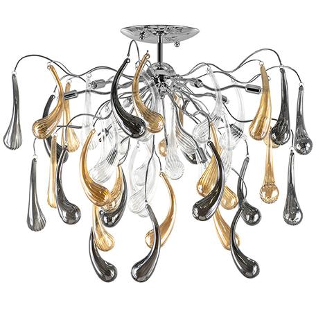 Потолочная люстра Lightstar Manica 794124, 12xG9x40W, хром, дымчатый, янтарь, металл, стекло