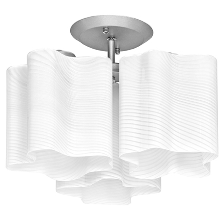 Потолочная люстра Lightstar Nubi Ondoso 802031, 3xE27x40W, матовый хром, белый, металл, стекло