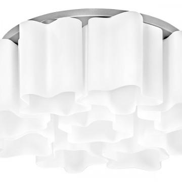 Потолочная люстра Lightstar Nubi 802090, 9xE27x40W, матовый хром, белый, металл, стекло