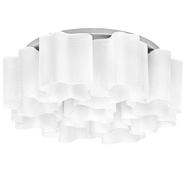 Потолочная люстра Lightstar Nubi Ondoso 802091, 9xE27x40W, матовый хром, белый, металл, стекло - фото 1