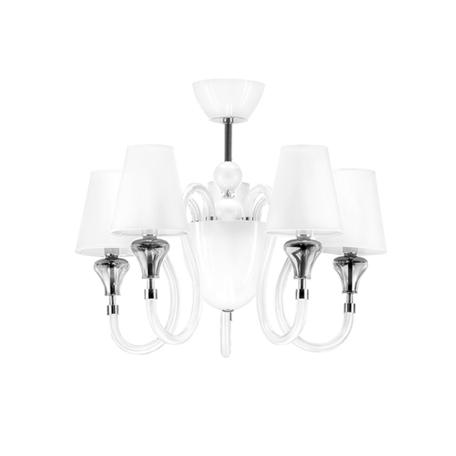Потолочная люстра Lightstar Otto 809056, 5xE14x40W +  1xG9x40W, хром, белый, дымчатый, стекло, текстиль