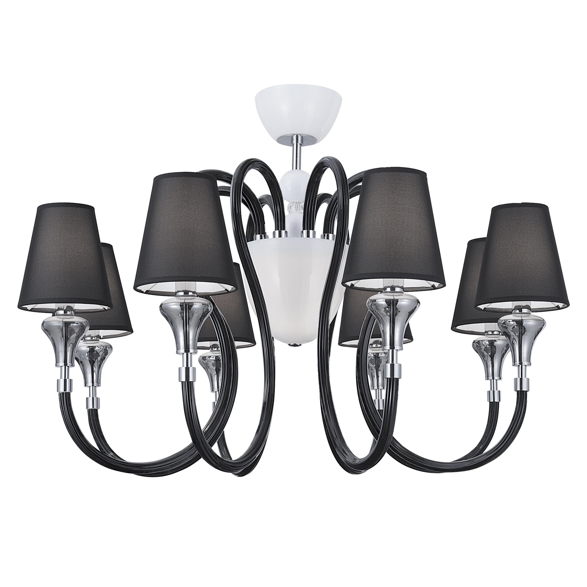 Потолочная люстра Lightstar Otto 809087, 8xE14x40W + 1xG9x40W, белый, дымчатый, хром, черный, стекло, текстиль - фото 1