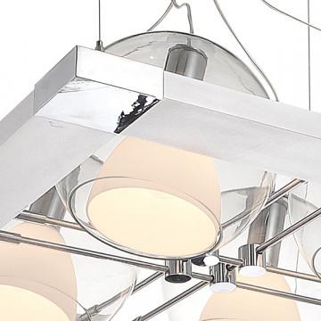 Подвесная люстра с регулировкой направления света Lightstar Palla 803141, 4xE14x40W, хром, белый, прозрачный, металл, стекло - миниатюра 2