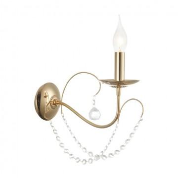 Бра Freya Gracia FR1312-WL-01-G, 1xE14x60W, золото, прозрачный, металл, хрусталь