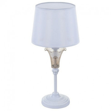 Настольная лампа Freya Alessa FR2984-TL-01-W, белый, янтарь, металл, стекло, текстиль