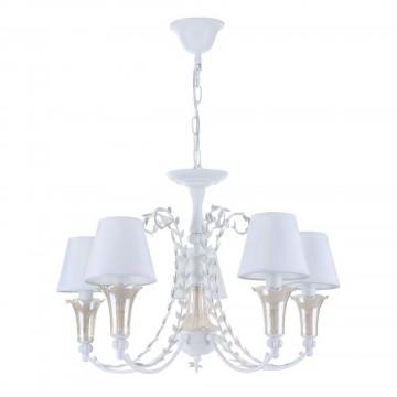 Подвесная люстра Freya Alessa FR2984-PL-05-W, 5xE14x60W, белый, янтарь, металл, стекло, текстиль - миниатюра 2