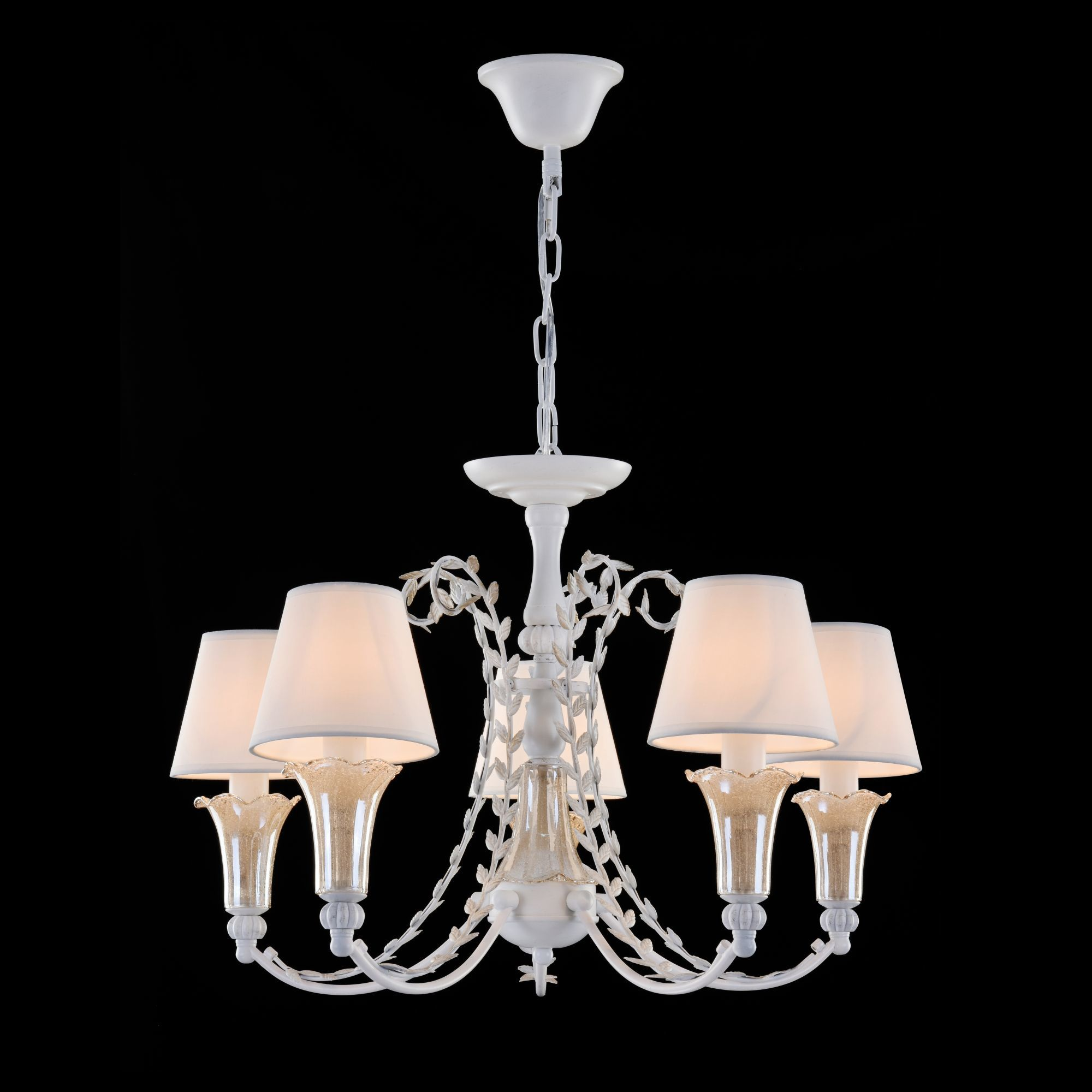 Подвесная люстра Freya Alessa FR2984-PL-05-W, 5xE14x60W, белый, янтарь, металл, стекло, текстиль - фото 3