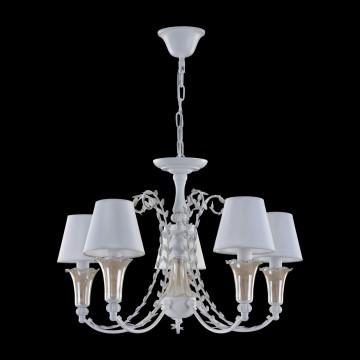 Подвесная люстра Freya Alessa FR2984-PL-05-W, 5xE14x60W, белый, янтарь, металл, стекло, текстиль - миниатюра 4