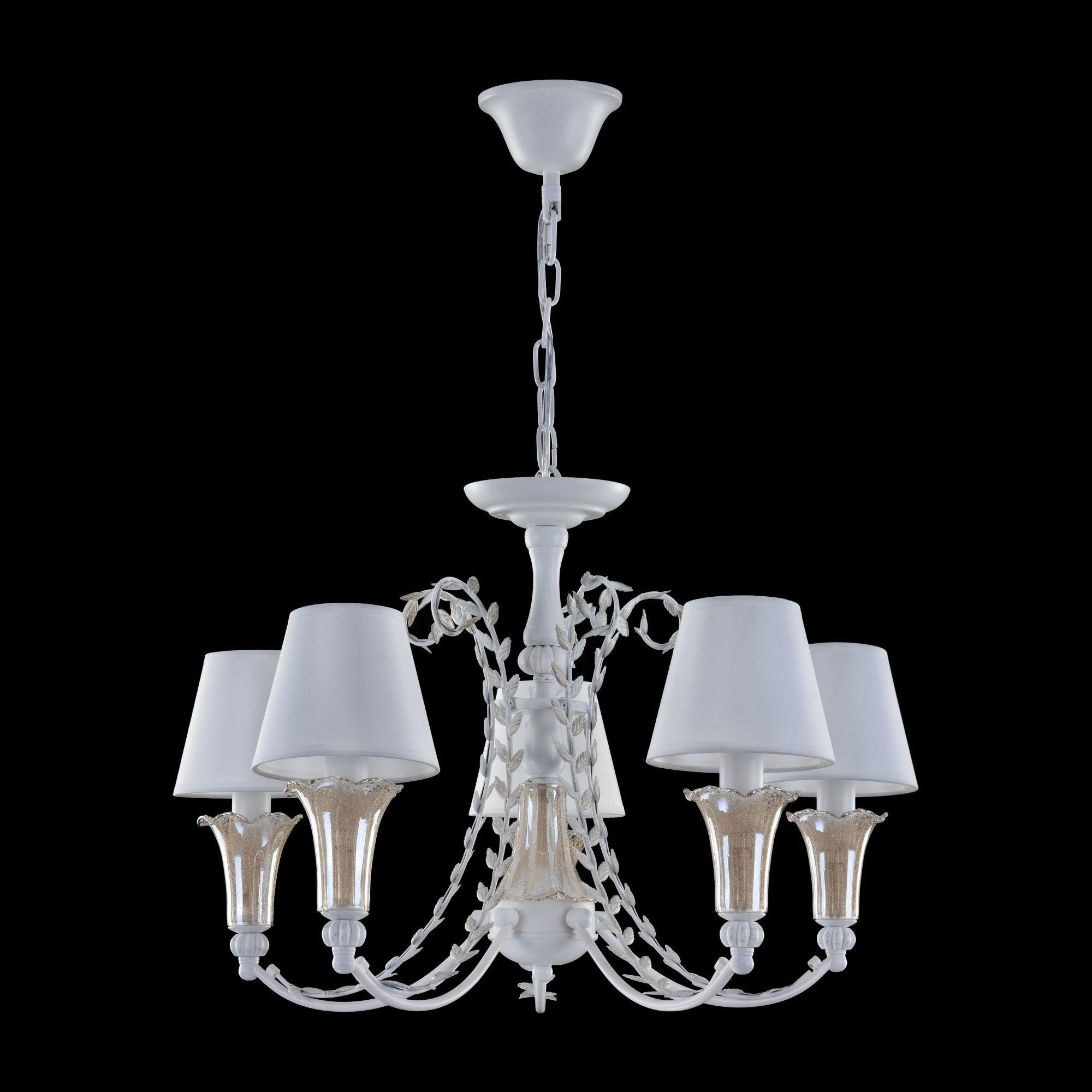 Подвесная люстра Freya Alessa FR2984-PL-05-W, 5xE14x60W, белый, янтарь, металл, стекло, текстиль - фото 4