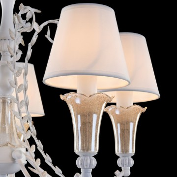 Подвесная люстра Freya Alessa FR2984-PL-05-W, 5xE14x60W, белый, янтарь, металл, стекло, текстиль - миниатюра 5