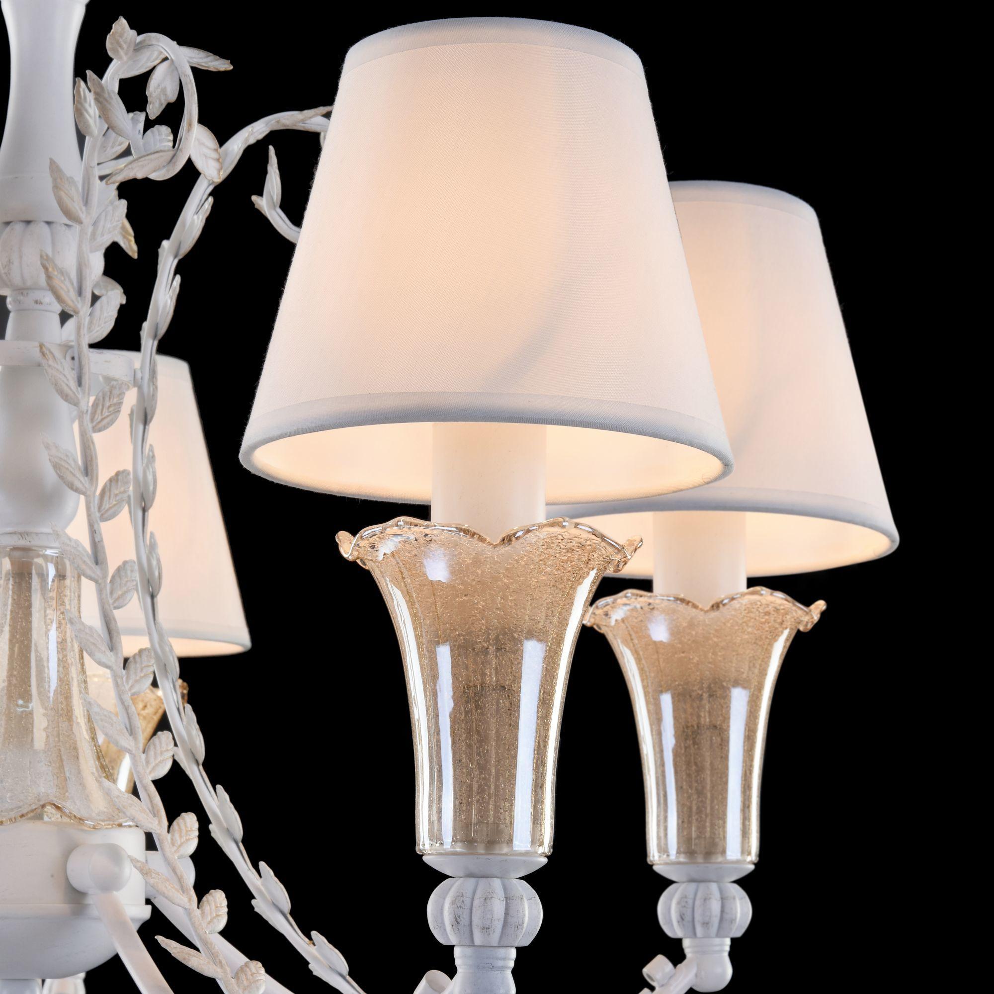 Подвесная люстра Freya Alessa FR2984-PL-05-W, 5xE14x60W, белый, янтарь, металл, стекло, текстиль - фото 5