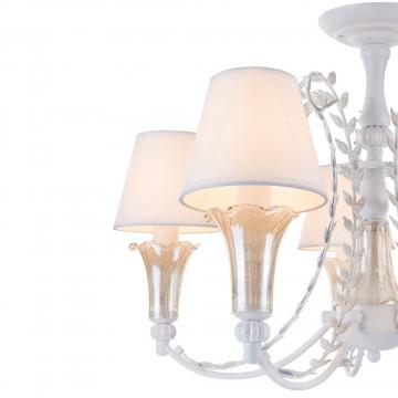 Подвесная люстра Freya Alessa FR2984-PL-05-W, 5xE14x60W, белый, янтарь, металл, стекло, текстиль - миниатюра 6