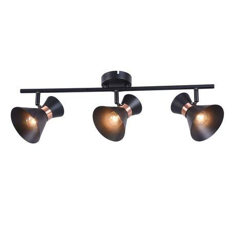 Потолочный светильник с регулировкой направления света Freya Izzy FR4273-CW-03-B, 3xE14x40W, черный, медь, металл