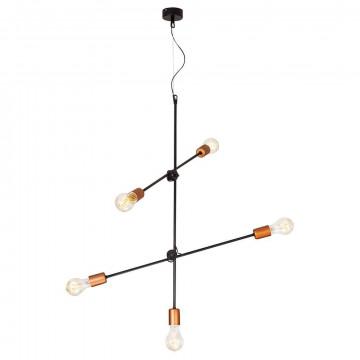 Подвесная люстра Nowodvorski Sticks 6270, 5xE27x60W, черный с медью, медь с черным, металл