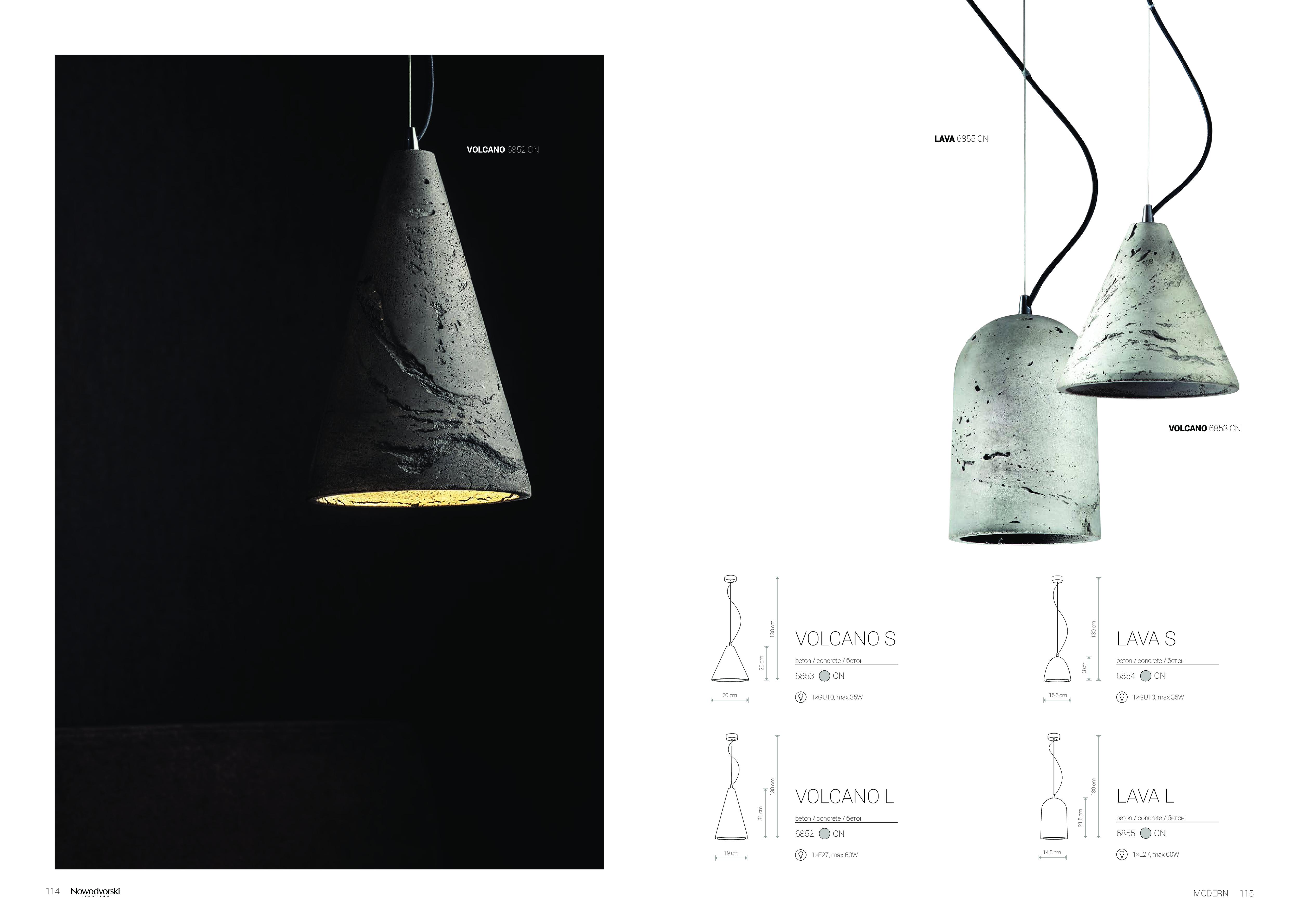 Подвесной светильник Nowodvorski Lava 6855, 1xE27x60W, сталь, серый, металл, бетон - фото 6