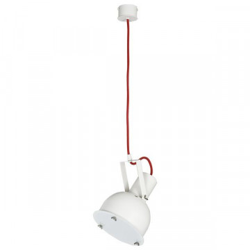 Подвесной светильник Nowodvorski Industrial 5525, 1xE27x60W, красный с белым, белый, металл, металл со стеклом, стекло