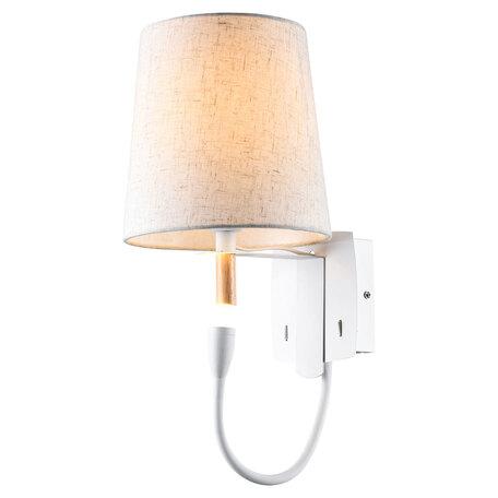 Бра с дополнительной подсветкой Lussole LGO Cozy LSP-8234, IP21, 1xE27x40W + LED 1W 3000K 450lm, белый, металл, дерево, текстиль