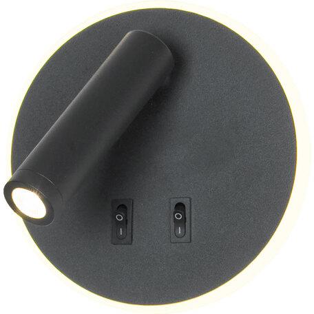 Настенный светодиодный светильник с регулировкой направления света с дополнительной подсветкой Lussole LGO Cozy LSP-8235, IP21, LED 9W 3000K 450lm, черный, металл