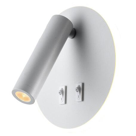 Настенный светодиодный светильник с регулировкой направления света с дополнительной подсветкой Lussole LGO Cozy LSP-8236, IP21, LED 9W 3000K 450lm, белый, металл