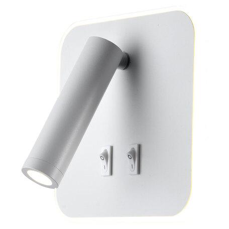 Настенный светодиодный светильник с регулировкой направления света с дополнительной подсветкой Lussole LGO Cozy LSP-8237, IP21, LED 9W 3000K 450lm, белый, металл
