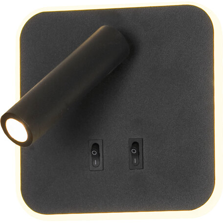 Настенный светодиодный светильник с регулировкой направления света с дополнительной подсветкой Lussole LGO Cozy LSP-8238, IP21, LED 9W 3000K 450lm, черный, металл