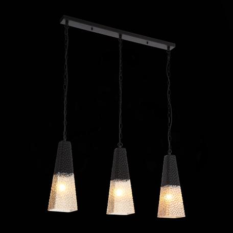 Подвесной светильник ST Luce Barno SL388.403.03, 3xE27x60W, черный, янтарь, металл, стекло
