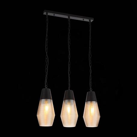 Подвесной светильник ST Luce Barno SL388.413.03, 3xE27x60W, черный, янтарь, металл, стекло
