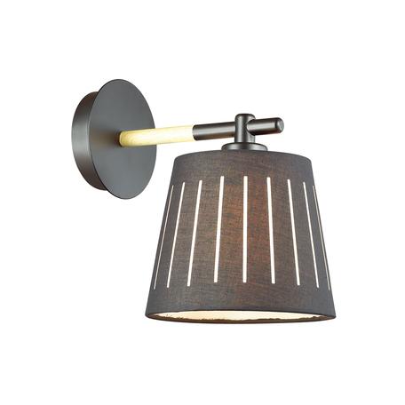 Бра Odeon Light Nicola 4110/1W, 1xE27x40W, черный, коричневый, металл, дерево, текстиль