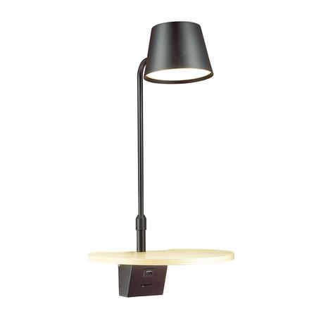 Светодиодное бра с полкой Odeon Light Hightech Sven 4163/6WL, LED 6W 3000K 200lm, черный, дерево, металл, пластик