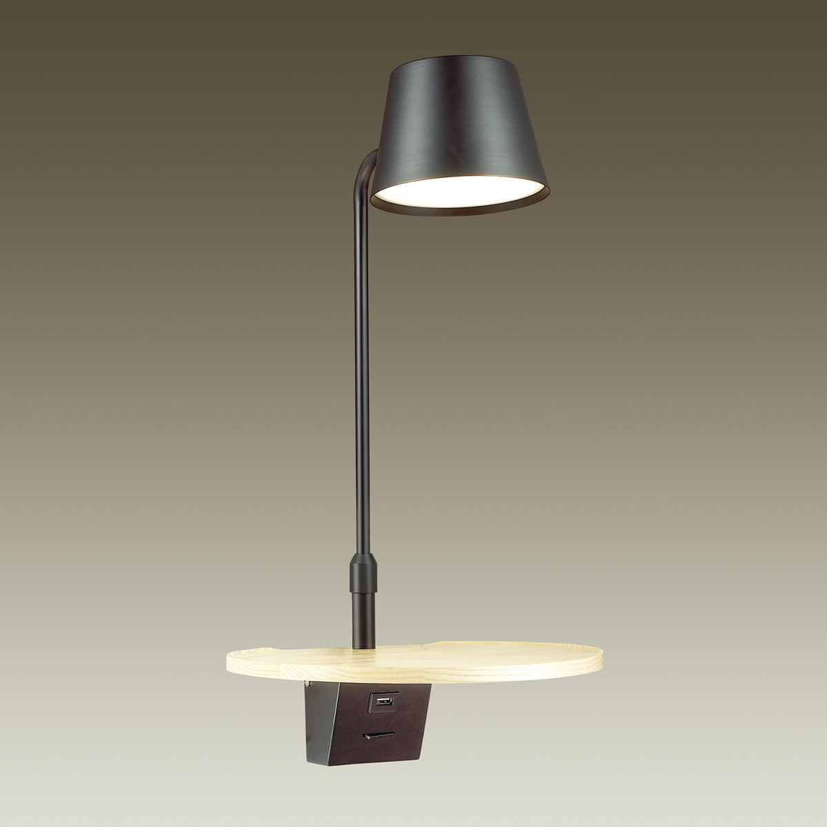 Светодиодное бра с полкой Odeon Light Sven 4163/6WL, LED 6W 3000K 200lm, черный, коричневый, дерево, металл, пластик - фото 2