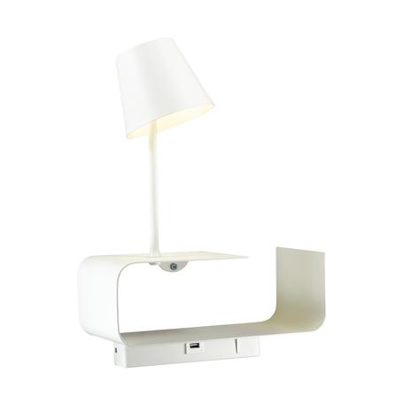Светодиодное бра с регулировкой направления света с полкой Odeon Light Hightech Sven 4161/6WL, LED 6W 3000K 200lm, белый, металл