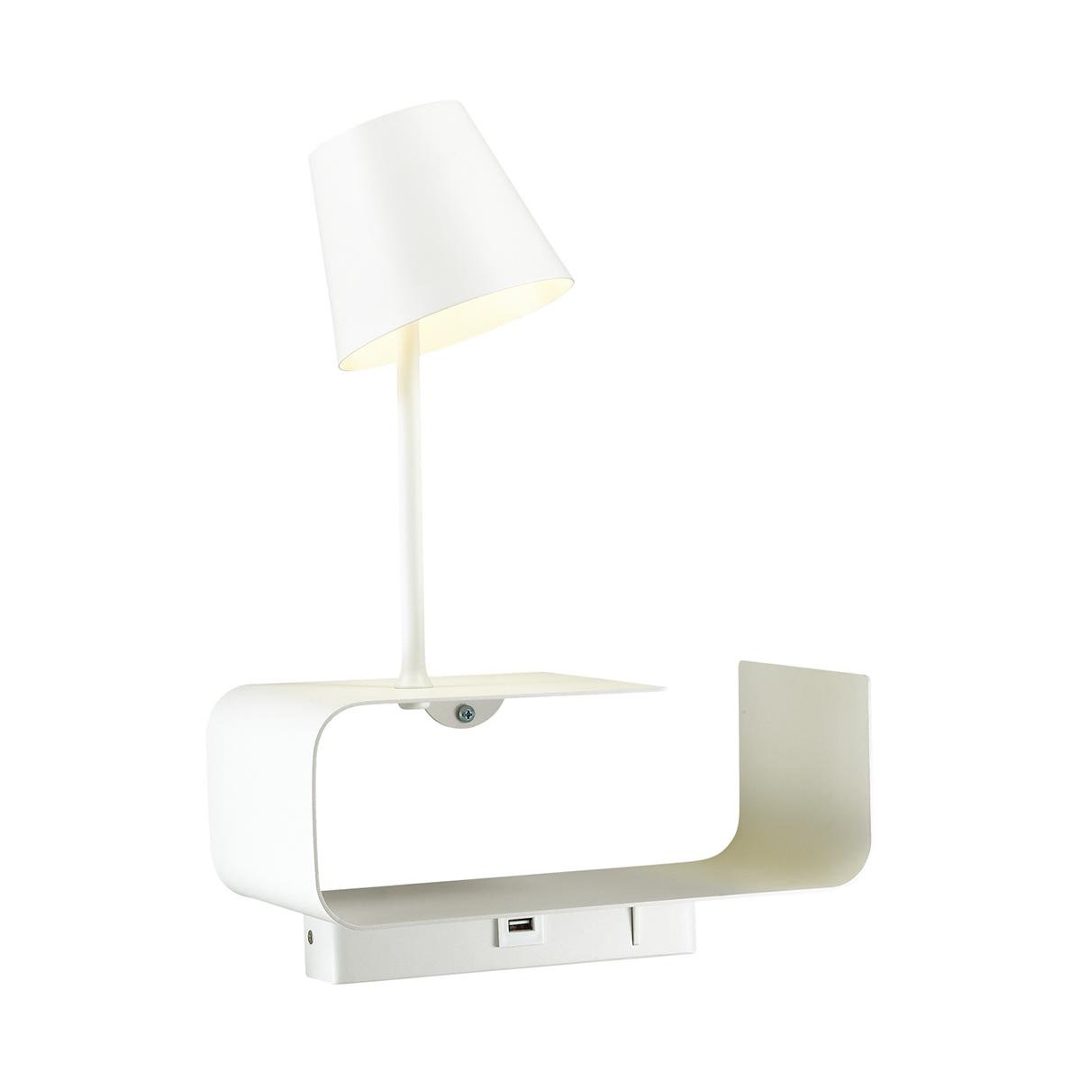 Светодиодное бра с регулировкой направления света с полкой Odeon Light Hightech Sven 4161/6WL, LED 6W 3000K 200lm, белый, металл - фото 1