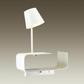 Светодиодное бра с регулировкой направления света с полкой Odeon Light Hightech Sven 4161/6WL, LED 6W 3000K 200lm, белый, металл - миниатюра 2