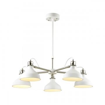 Люстра с регулировкой направления света на телескопической штанге Odeon Light Lurdi 3331/5, 5xE27x40W, белый, хром, металл