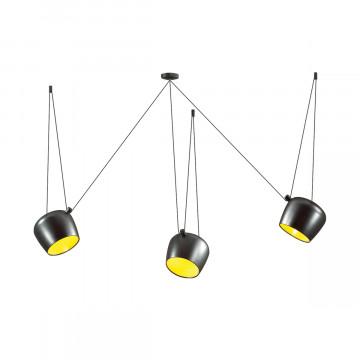Люстра-паук Odeon Light Foks 4104/3, 3xE27x40W, черный, желтый, металл