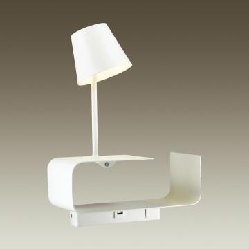 Светодиодное бра с регулировкой направления света с полкой Odeon Light Sven 4161/6WL, LED 6W 3000K 200lm, белый, металл - миниатюра 2
