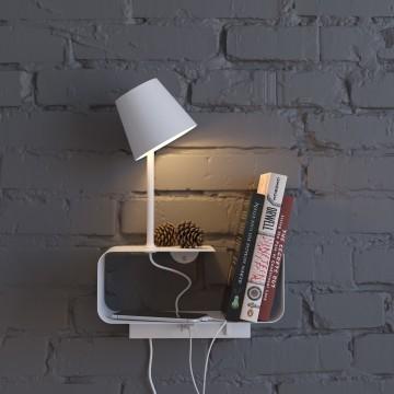 Светодиодное бра с регулировкой направления света с полкой Odeon Light Sven 4161/6WL, LED 6W 3000K 200lm, белый, металл - миниатюра 3