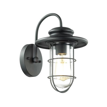 Настенный светильник Odeon Light Nature Helm 4171/1W, IP44, 1xE27x60W, черный, черный с прозрачным, прозрачный с черным, металл, металл со стеклом