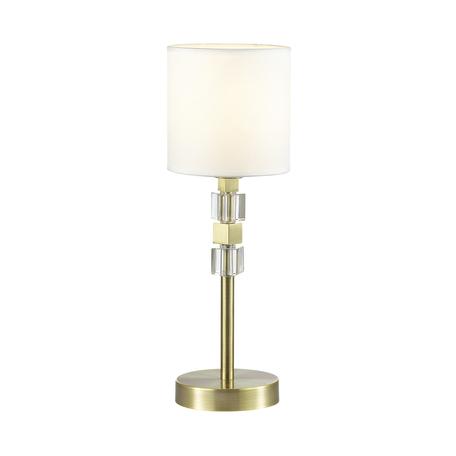 Настольная лампа Odeon Light Pavia 4112/1T, 1xE27x40W, бронза, белый, металл, хрусталь, текстиль